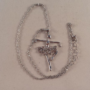 Accessories - Silver Crystal Ballerina Ballet Dancer Necklace